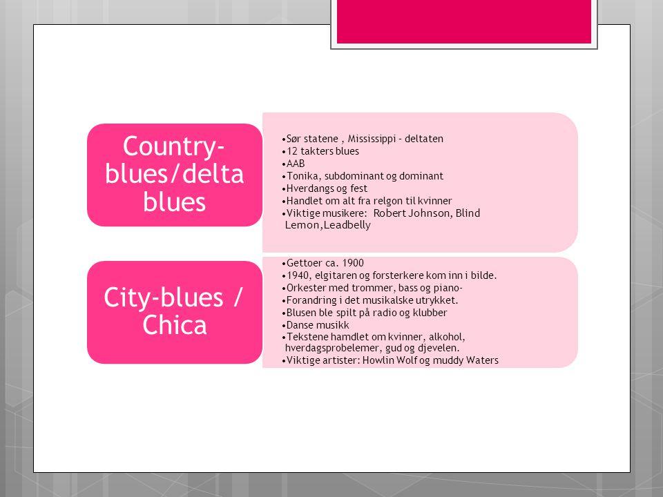 Sør statene, Mississippi – deltaten 12 takters blues AAB Tonika, subdominant og dominant Hverdangs og fest Handlet om alt fra relgon til kvinner Vikti