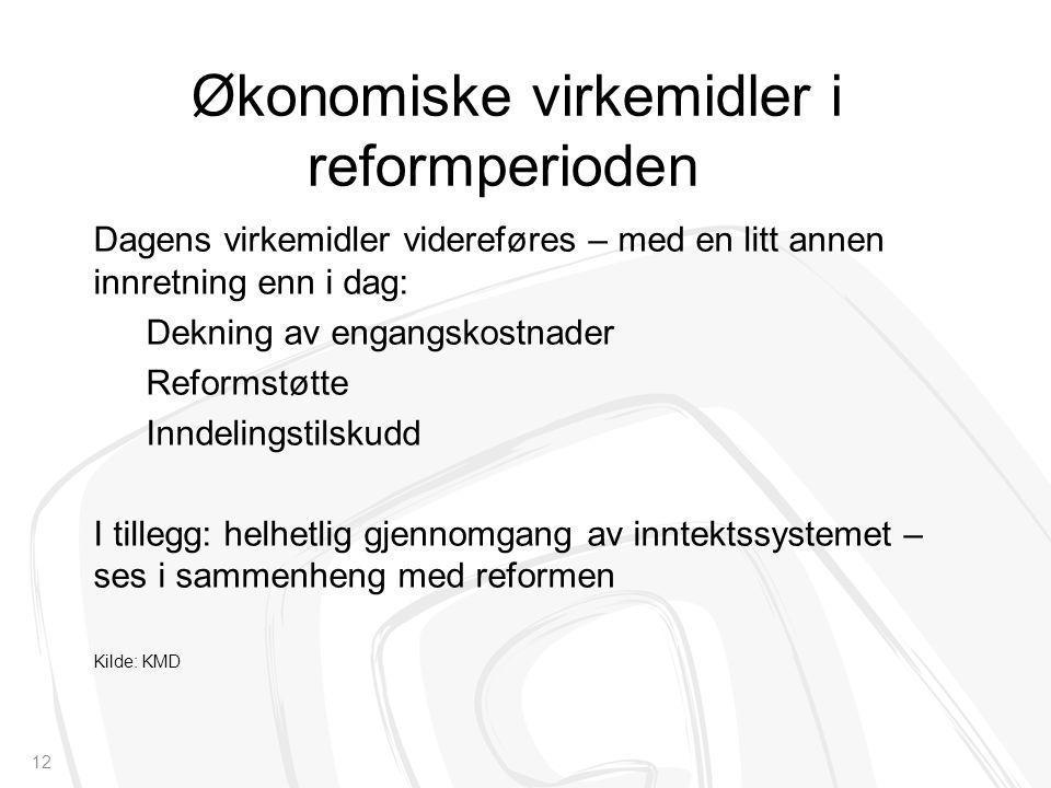 Økonomiske virkemidler i reformperioden Dagens virkemidler videreføres – med en litt annen innretning enn i dag: Dekning av engangskostnader Reformstø