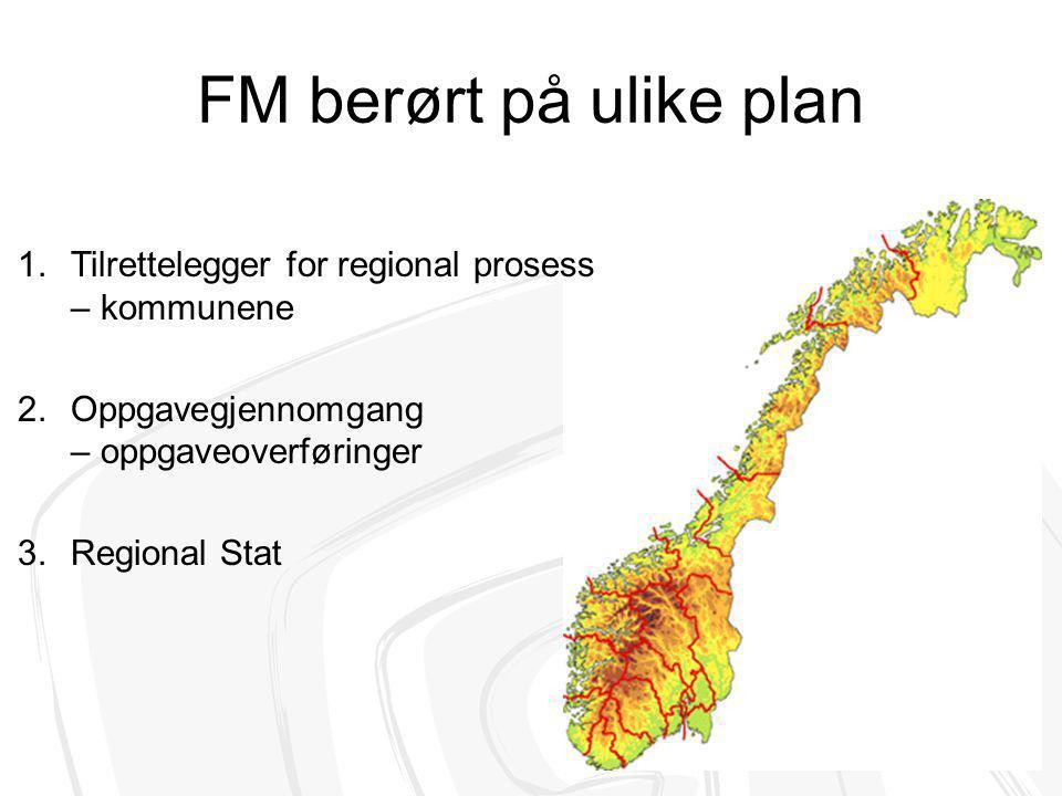 FM berørt på ulike plan 1.Tilrettelegger for regional prosess – kommunene 2.Oppgavegjennomgang – oppgaveoverføringer 3.Regional Stat
