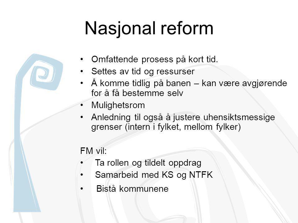 Nasjonal reform Omfattende prosess på kort tid. Settes av tid og ressurser Å komme tidlig på banen – kan være avgjørende for å få bestemme selv Muligh