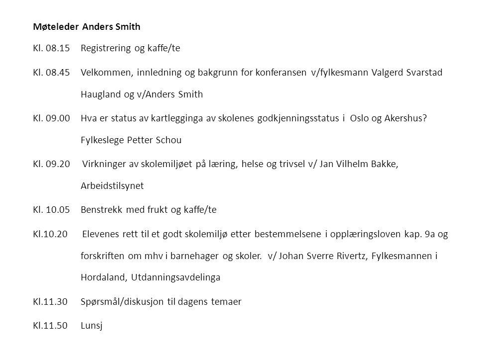 Møteleder Anders Smith Kl. 08.15 Registrering og kaffe/te Kl. 08.45Velkommen, innledning og bakgrunn for konferansen v/fylkesmann Valgerd Svarstad Hau