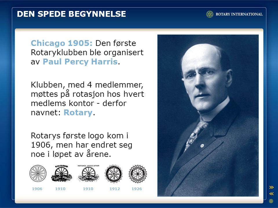 DEN SPEDE BEGYNNELSE Chicago 1905: Den første Rotaryklubben ble organisert av Paul Percy Harris. Klubben, med 4 medlemmer, møttes på rotasjon hos hver