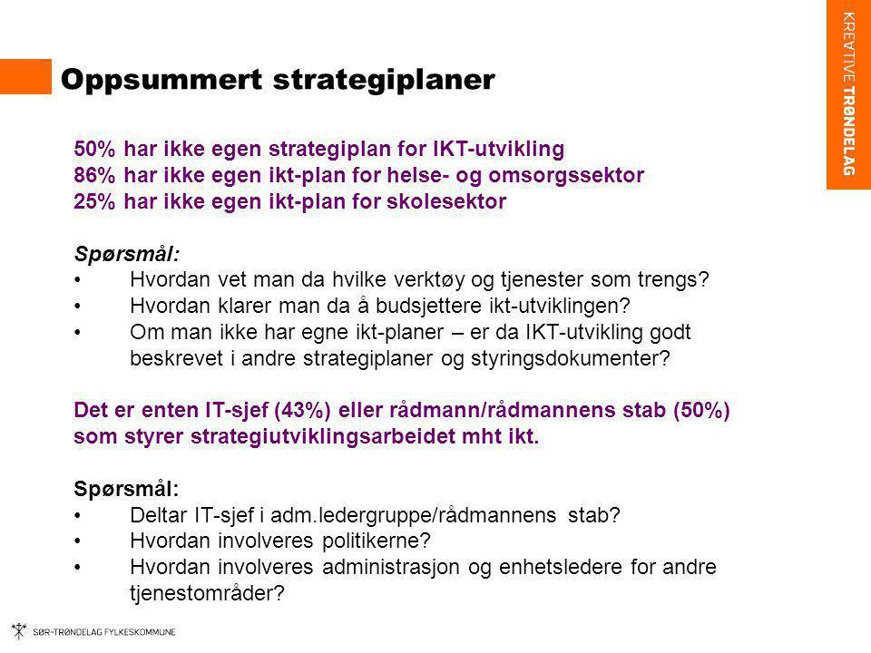 Oppsummert strategiplaner 50% har ikke egen strategiplan for IKT-utvikling 86% har ikke egen ikt-plan for helse- og omsorgssektor 25% har ikke egen ik