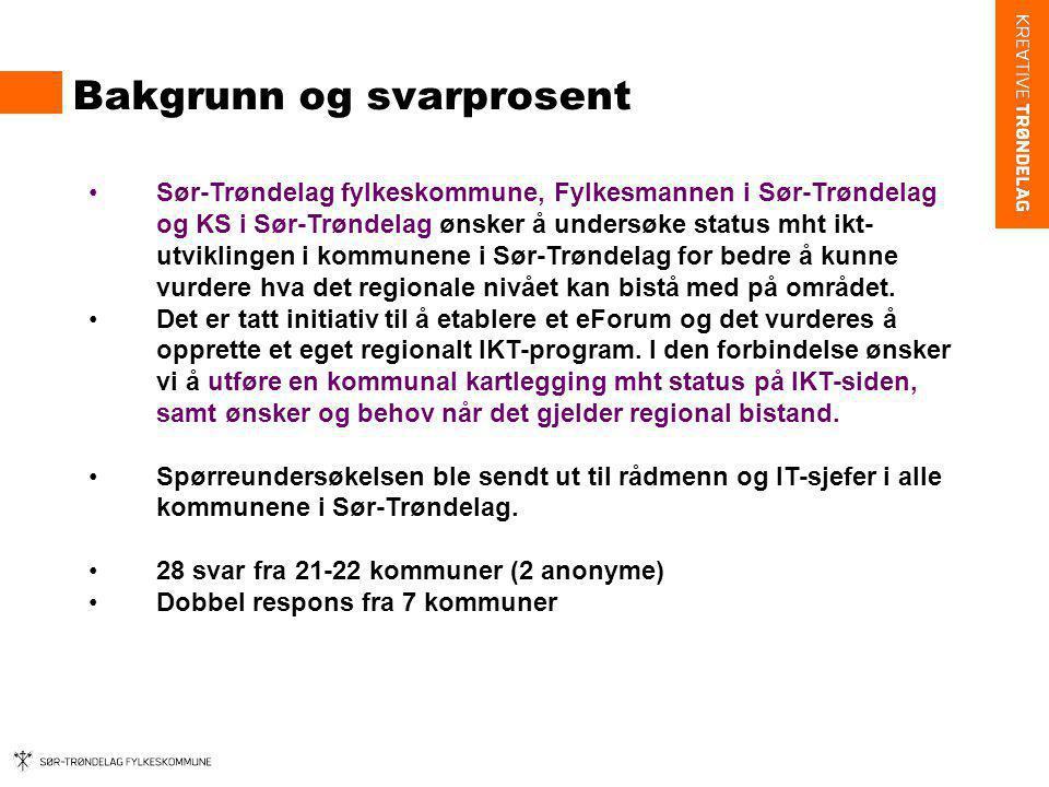 Bakgrunn og svarprosent Sør-Trøndelag fylkeskommune, Fylkesmannen i Sør-Trøndelag og KS i Sør-Trøndelag ønsker å undersøke status mht ikt- utviklingen