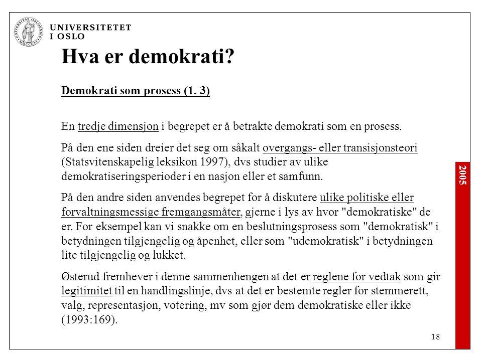2005 18 Hva er demokrati.Demokrati som prosess (1.