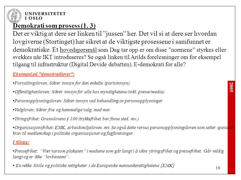 2005 19 Demokrati som prosess (1.3) Det er viktig at dere ser linken til jussen her.