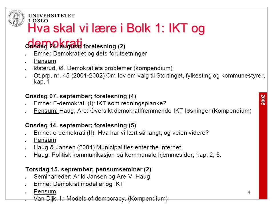 2005 4 Hva skal vi lære i Bolk 1: IKT og demokrati Onsdag 24.