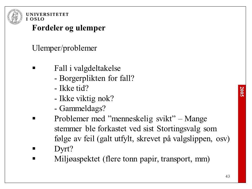 2005 43 Fordeler og ulemper Ulemper/problemer  Fall i valgdeltakelse - Borgerplikten for fall.