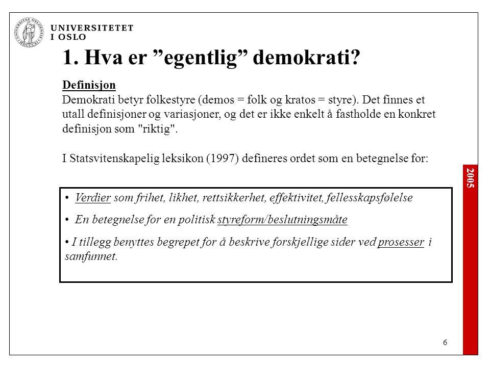 2005 6 1.Hva er egentlig demokrati.