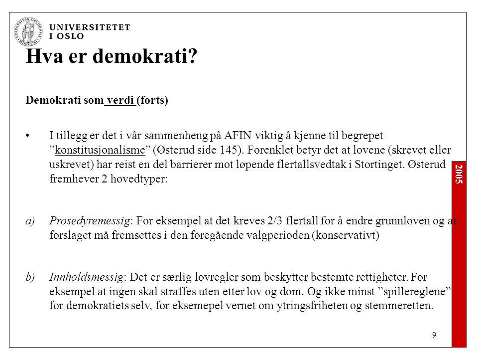 2005 20 Hva er demokrati.Demokrati som prosess (1.