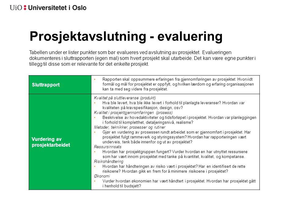Prosjektavslutning – evaluering (forts.) Organisering, roller og ansvar Egne personellressurser Hvilke ressurser har vært involvert og omtrentlig stillingsprosent.