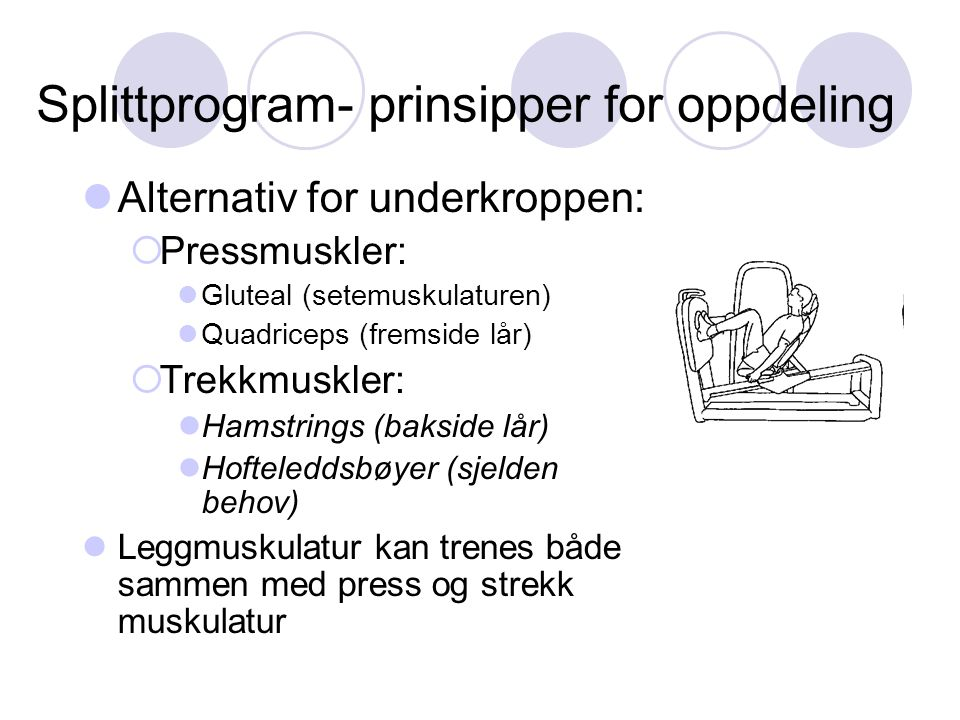 Splittprogram- prinsipper for oppdeling Alternativ for underkroppen:  Pressmuskler: Gluteal (setemuskulaturen) Quadriceps (fremside lår)  Trekkmuskl
