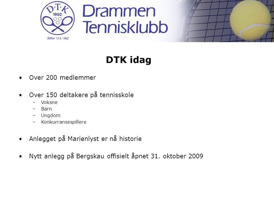 DTK idag Over 200 medlemmer Over 150 deltakere på tennisskole –Voksne –Barn –Ungdom –Konkurransespillere Anlegget på Marienlyst er nå historie Nytt anlegg på Bergskau offisielt åpnet 31.