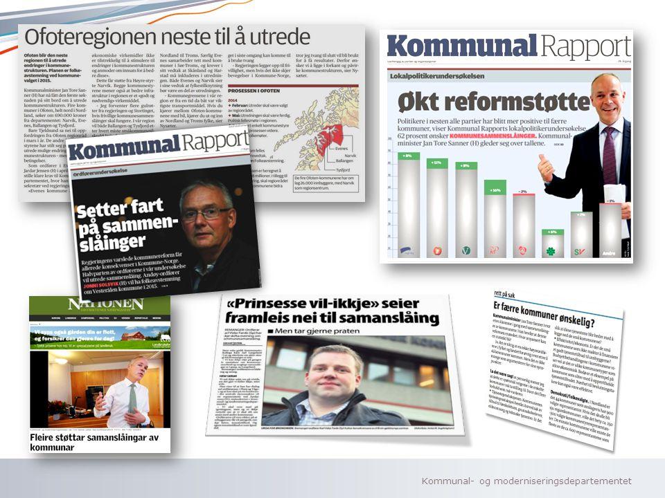 Kommunal- og moderniseringsdepartementet Norsk mal: To innholdsdeler - Sammenlikning