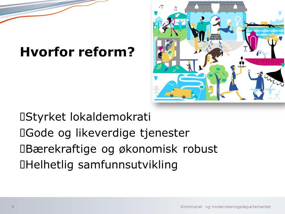 Kommunal- og moderniseringsdepartementet Norsk mal: To innholdsdeler - Sammenlikning 10