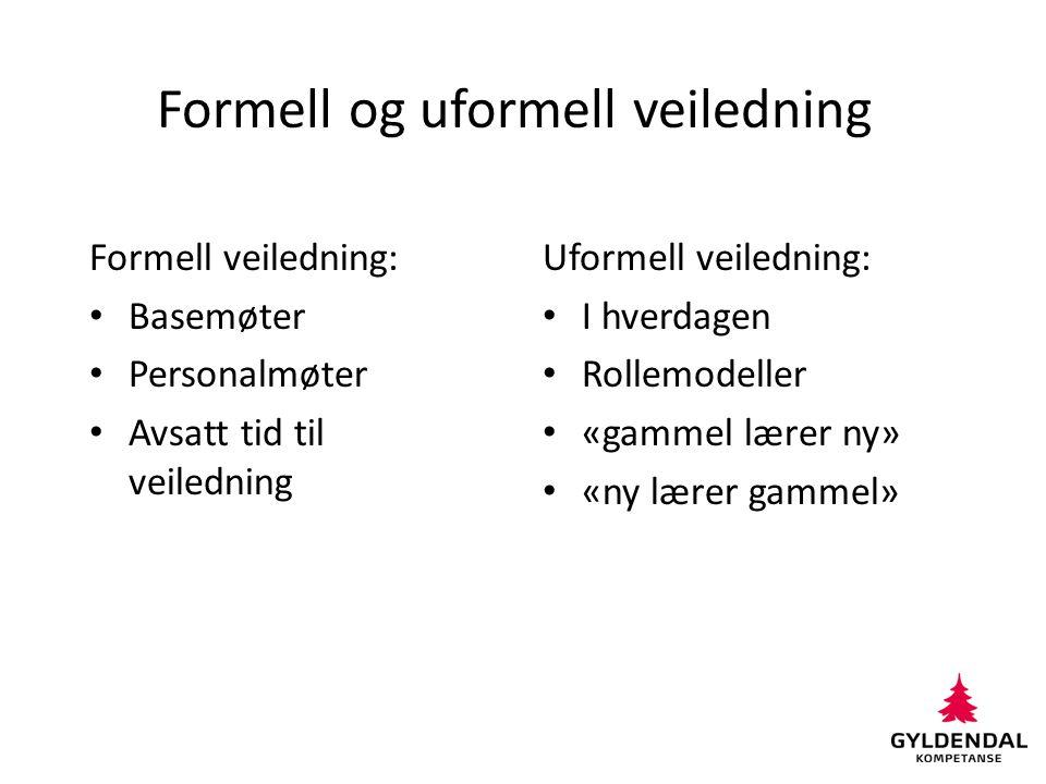 Formell og uformell veiledning Formell veiledning: Basemøter Personalmøter Avsatt tid til veiledning Uformell veiledning: I hverdagen Rollemodeller «g
