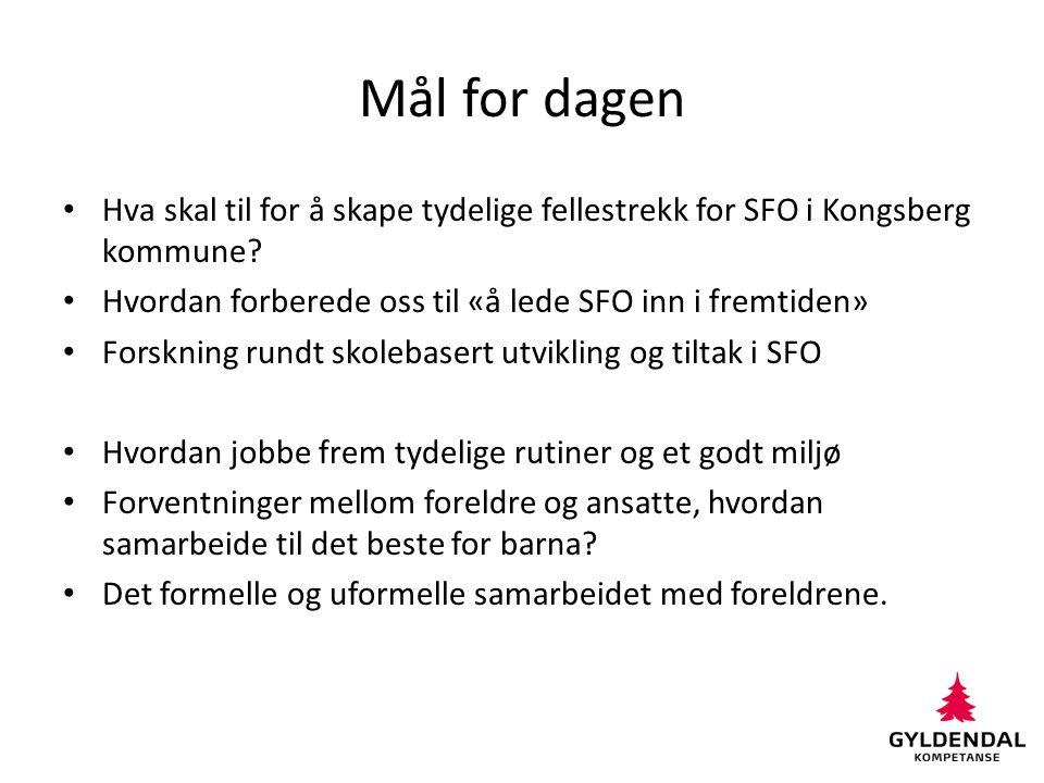 Mål for dagen Hva skal til for å skape tydelige fellestrekk for SFO i Kongsberg kommune? Hvordan forberede oss til «å lede SFO inn i fremtiden» Forskn