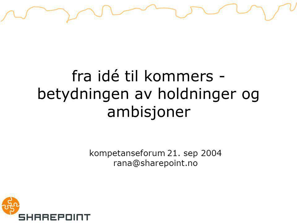 fra idé til kommers - betydningen av holdninger og ambisjoner kompetanseforum 21.
