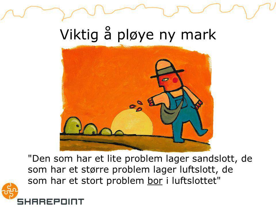 Den som har et lite problem lager sandslott, de som har et større problem lager luftslott, de som har et stort problem bor i luftslottet Viktig å pløye ny mark