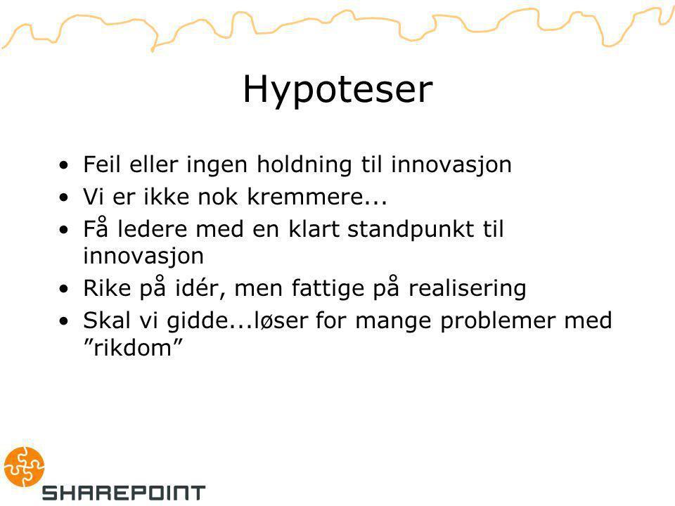 Hypoteser Feil eller ingen holdning til innovasjon Vi er ikke nok kremmere...