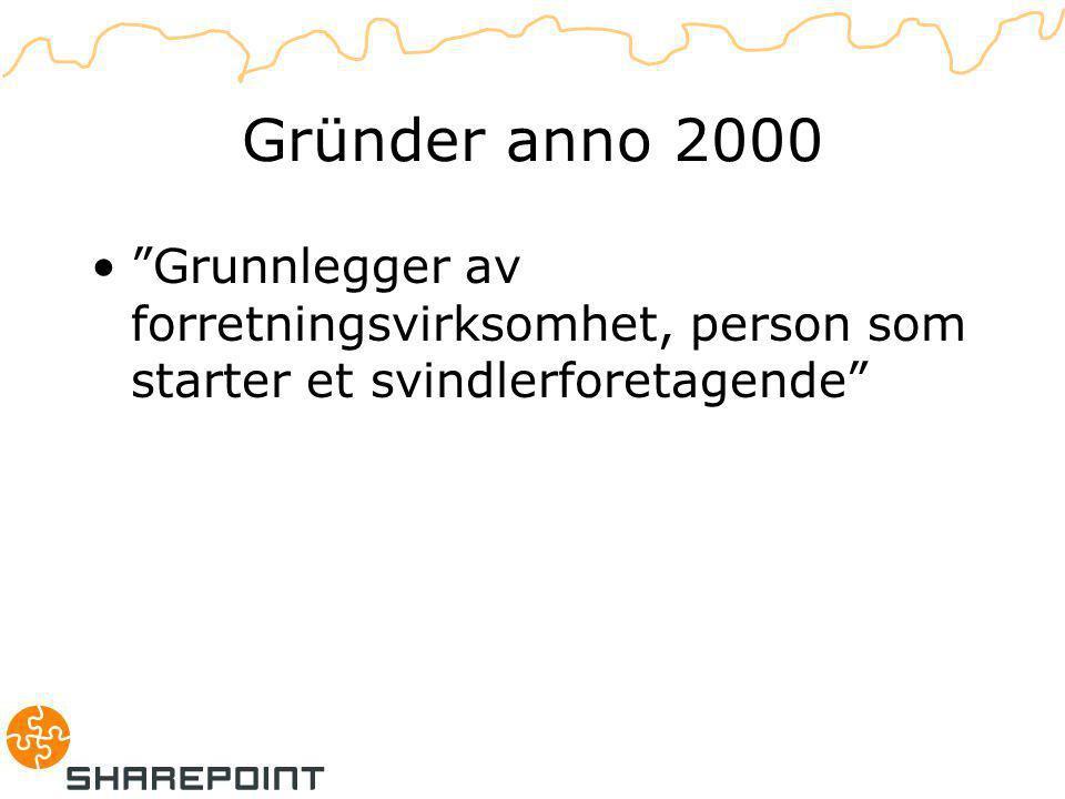 Gründer anno 2000 Grunnlegger av forretningsvirksomhet, person som starter et svindlerforetagende