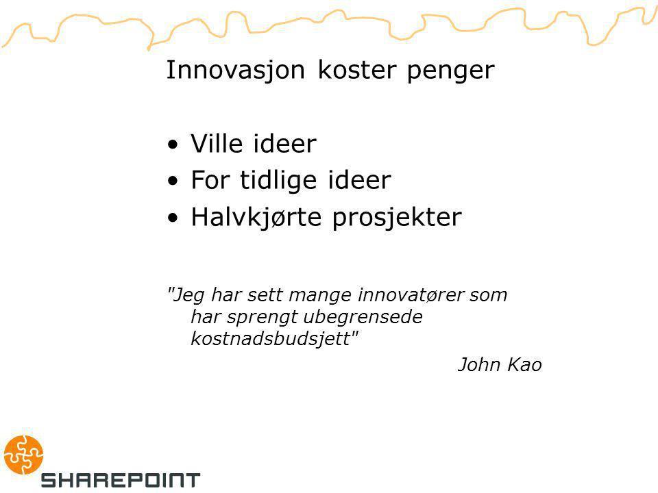D. Lemmas problem Innovasjon koster penger Ville ideer For tidlige ideer Halvkjørte prosjekter