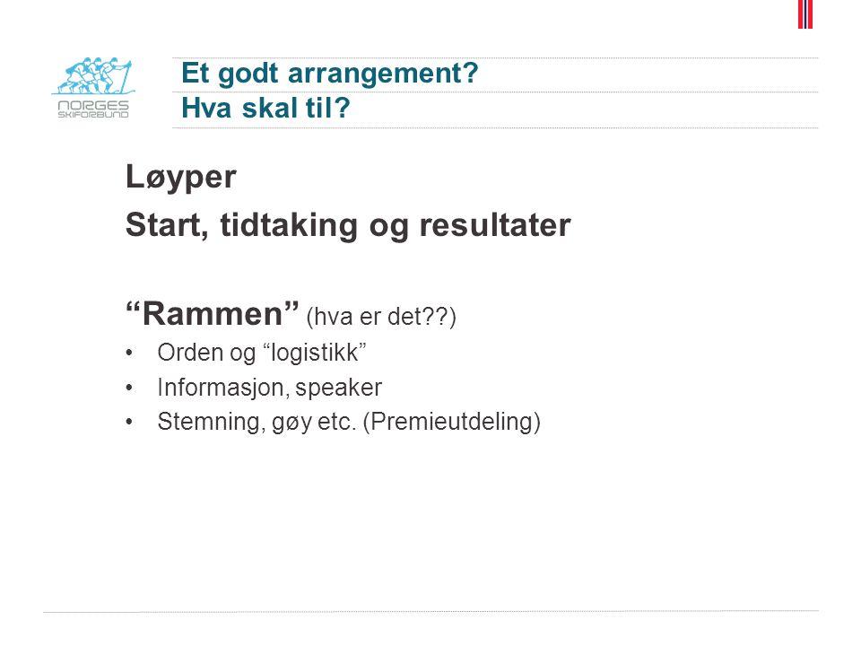 """Et godt arrangement? Hva skal til? Løyper Start, tidtaking og resultater """"Rammen"""" (hva er det??) Orden og """"logistikk"""" Informasjon, speaker Stemning, g"""