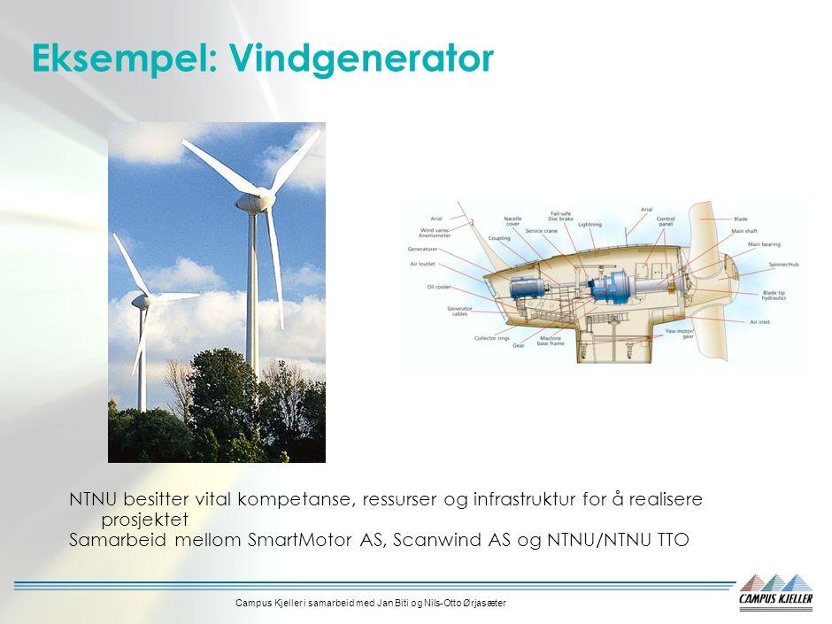 Campus Kjeller i samarbeid med Jan Biti og Nils-Otto Ørjasæter Eksempel: Vindgenerator NTNU besitter vital kompetanse, ressurser og infrastruktur for å realisere prosjektet Samarbeid mellom SmartMotor AS, Scanwind AS og NTNU/NTNU TTO