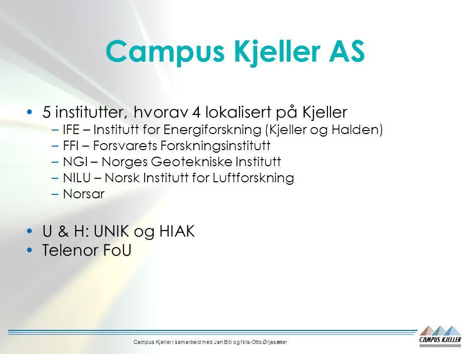 Campus Kjeller i samarbeid med Jan Biti og Nils-Otto Ørjasæter Campus Kjeller AS 5 institutter, hvorav 4 lokalisert på Kjeller –IFE – Institutt for Energiforskning (Kjeller og Halden) –FFI – Forsvarets Forskningsinstitutt –NGI – Norges Geotekniske Institutt –NILU – Norsk Institutt for Luftforskning –Norsar U & H: UNIK og HIAK Telenor FoU