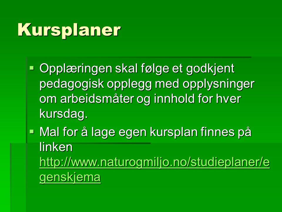 Kursplaner  Veiledning til hvordan å lage egen kursplan finnes via linken http://www.naturogmiljo.no/studieplaner/v eiledning.asp http://www.naturogmiljo.no/studieplaner/v eiledning.asp