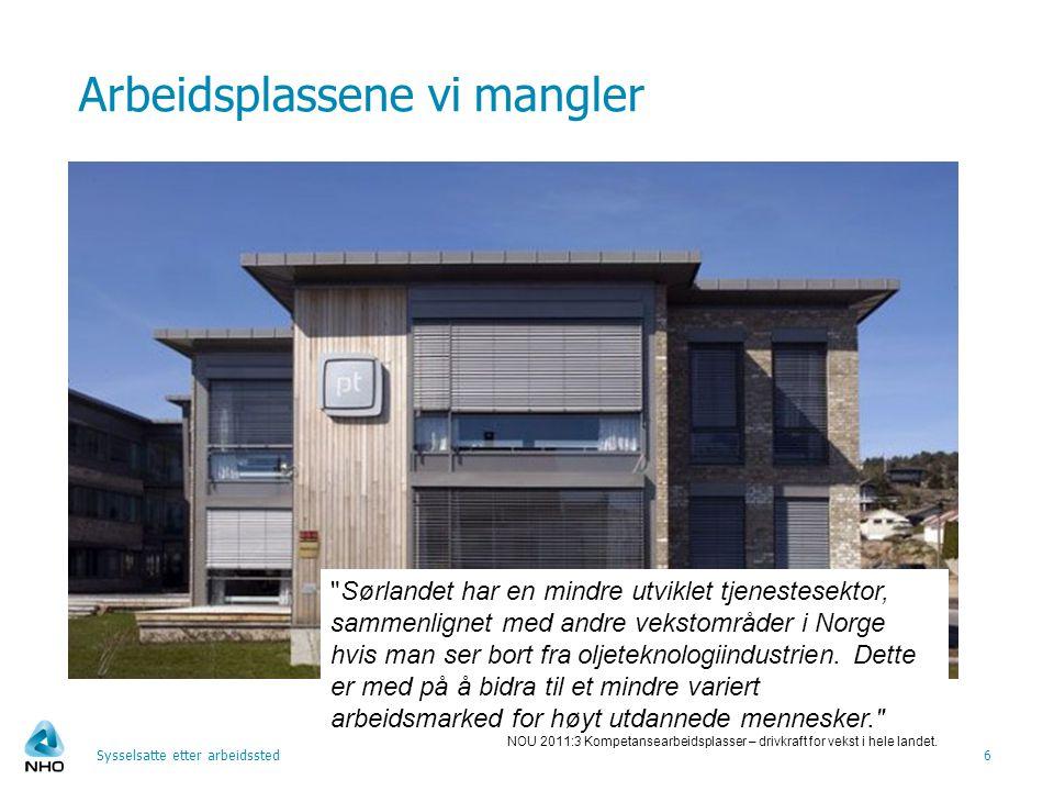 Arbeidsplassene vi mangler Sysselsatte etter arbeidssted6 Sørlandet har en mindre utviklet tjenestesektor, sammenlignet med andre vekstområder i Norge hvis man ser bort fra oljeteknologiindustrien.