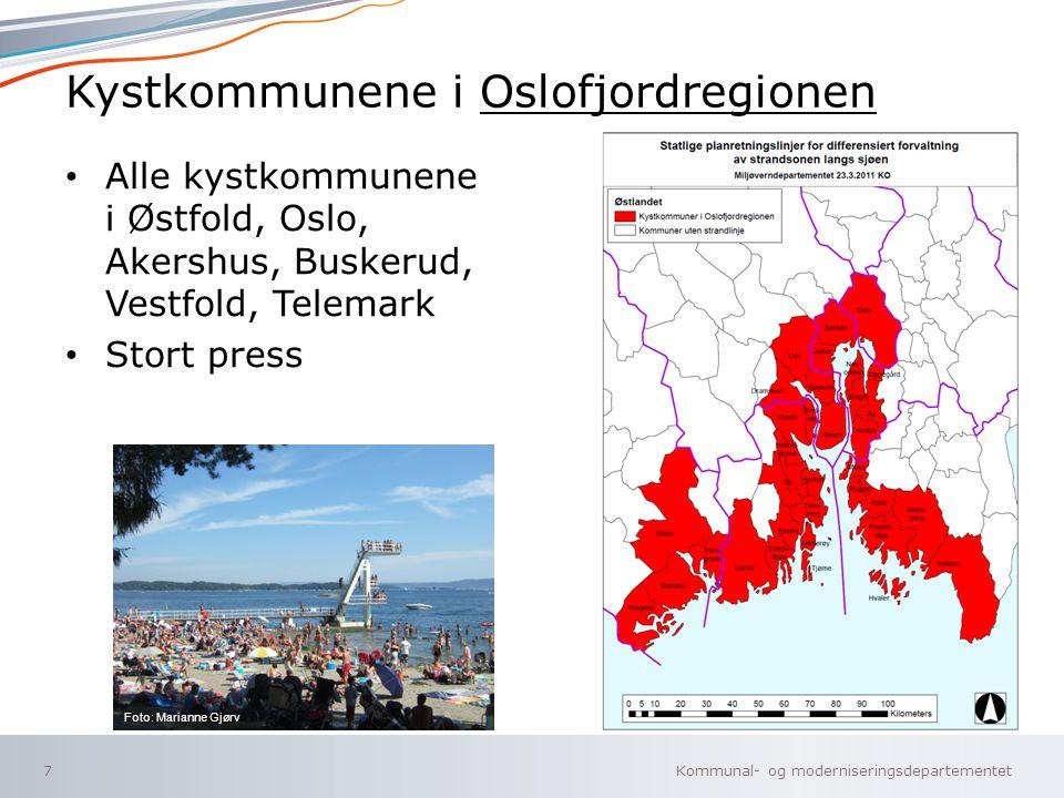 Kommunal- og moderniseringsdepartementet Norsk mal: To innholdsdeler - Sammenlikning Kystkommunene i Oslofjordregionen Alle kystkommunene i Østfold, O