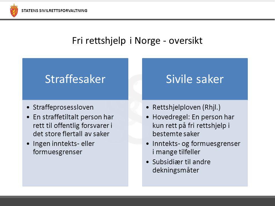 STATENS SIVILRETTSFORVALTNING Fri rettshjelp i Norge - oversikt Straffesaker Straffeprosessloven En straffetiltalt person har rett til offentlig forsv