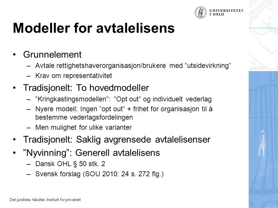 """Modeller for avtalelisens Grunnelement –Avtale rettighetshaverorganisasjon/brukere med """"utsidevirkning"""" –Krav om representativitet Tradisjonelt: To ho"""