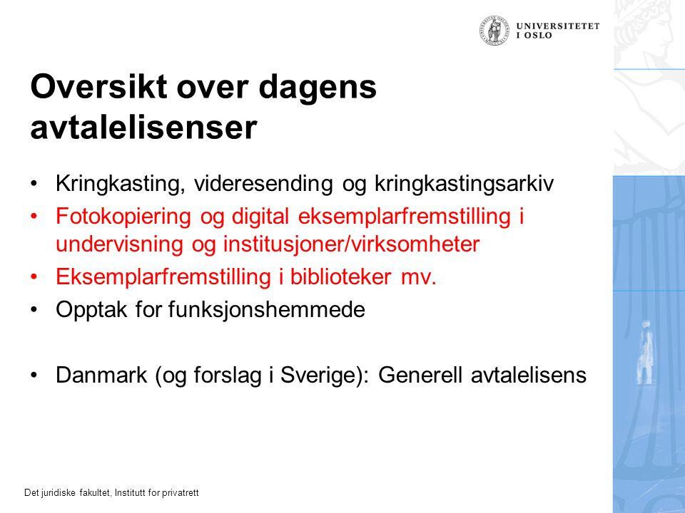 Det juridiske fakultet, Institutt for privatrett Avtalelisensens natur Grunnproblem: Innebærer avtalelisens en avgrensning/unntak fra eneretten.