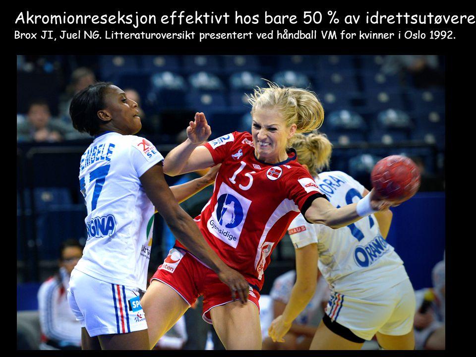 Akromionreseksjon effektivt hos bare 50 % av idrettsutøvere Brox JI, Juel NG. Litteraturoversikt presentert ved håndball VM for kvinner i Oslo 1992.