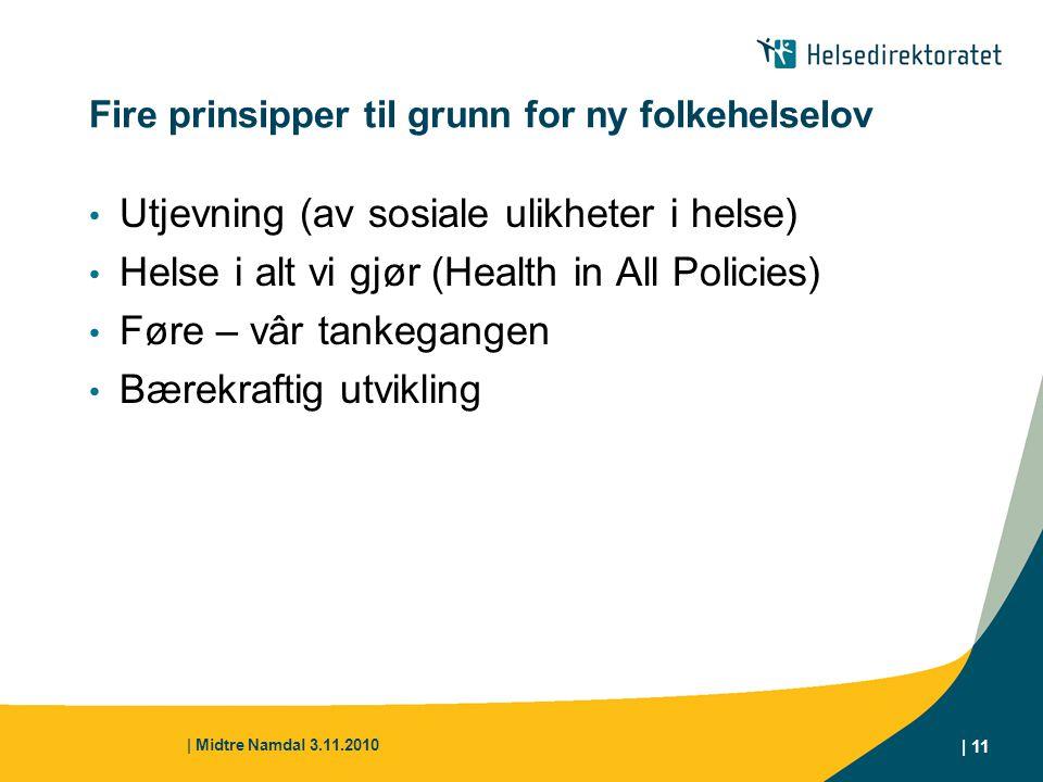 | Midtre Namdal 3.11.2010 | 11 Fire prinsipper til grunn for ny folkehelselov Utjevning (av sosiale ulikheter i helse) Helse i alt vi gjør (Health in
