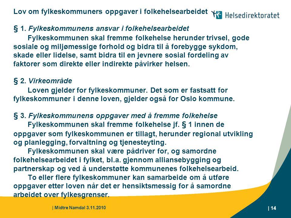 | Midtre Namdal 3.11.2010 | 14 Lov om fylkeskommuners oppgaver i folkehelsearbeidet § 1. Fylkeskommunens ansvar i folkehelsearbeidet Fylkeskommunen sk