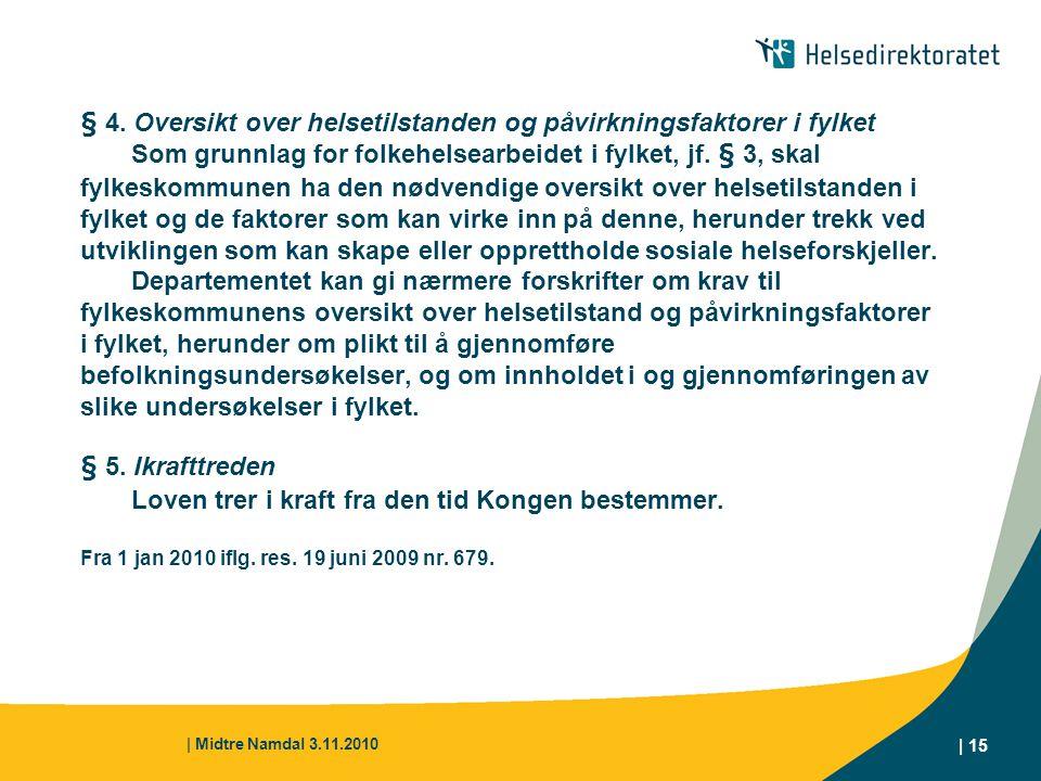 | Midtre Namdal 3.11.2010 | 15 § 4. Oversikt over helsetilstanden og påvirkningsfaktorer i fylket Som grunnlag for folkehelsearbeidet i fylket, jf. §