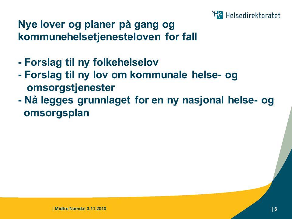 | Midtre Namdal 3.11.2010 | 3 Nye lover og planer på gang og kommunehelsetjenesteloven for fall - Forslag til ny folkehelselov - Forslag til ny lov om
