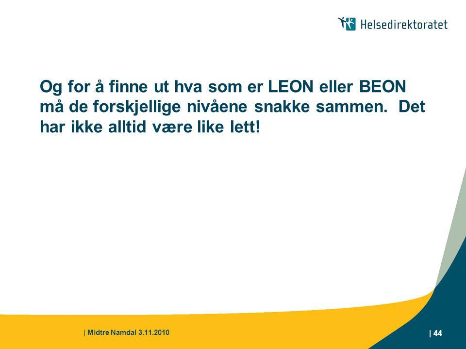 | Midtre Namdal 3.11.2010 | 44 Og for å finne ut hva som er LEON eller BEON må de forskjellige nivåene snakke sammen. Det har ikke alltid være like le