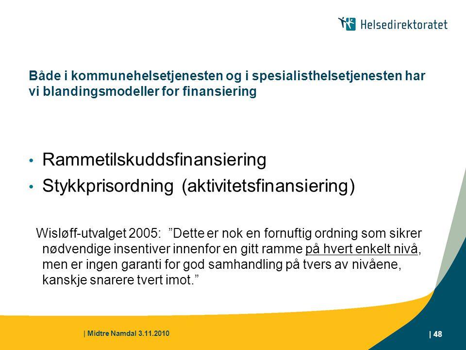 | Midtre Namdal 3.11.2010 | 48 Både i kommunehelsetjenesten og i spesialisthelsetjenesten har vi blandingsmodeller for finansiering Rammetilskuddsfina