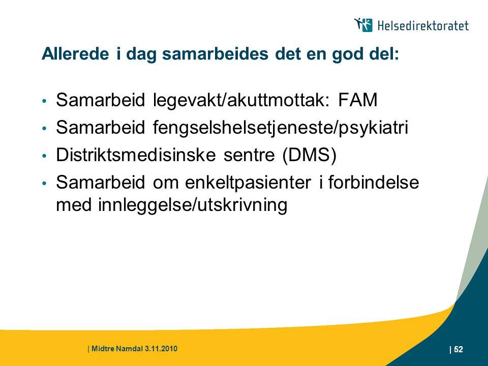 | Midtre Namdal 3.11.2010 | 52 Allerede i dag samarbeides det en god del: Samarbeid legevakt/akuttmottak: FAM Samarbeid fengselshelsetjeneste/psykiatr