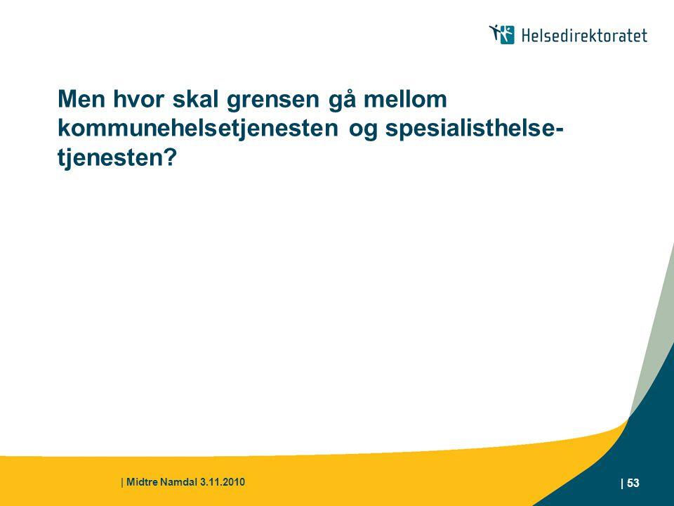 | Midtre Namdal 3.11.2010 | 53 Men hvor skal grensen gå mellom kommunehelsetjenesten og spesialisthelse- tjenesten?