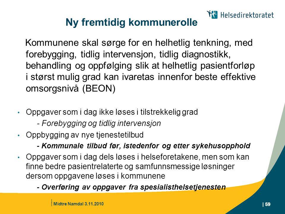 | Midtre Namdal 3.11.2010 | 59 Ny fremtidig kommunerolle Kommunene skal sørge for en helhetlig tenkning, med forebygging, tidlig intervensjon, tidlig