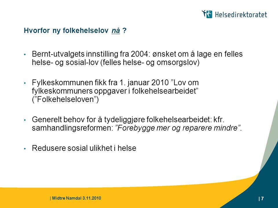 | Midtre Namdal 3.11.2010 | 7 Hvorfor ny folkehelselov nå ? Bernt-utvalgets innstilling fra 2004: ønsket om å lage en felles helse- og sosial-lov (fel