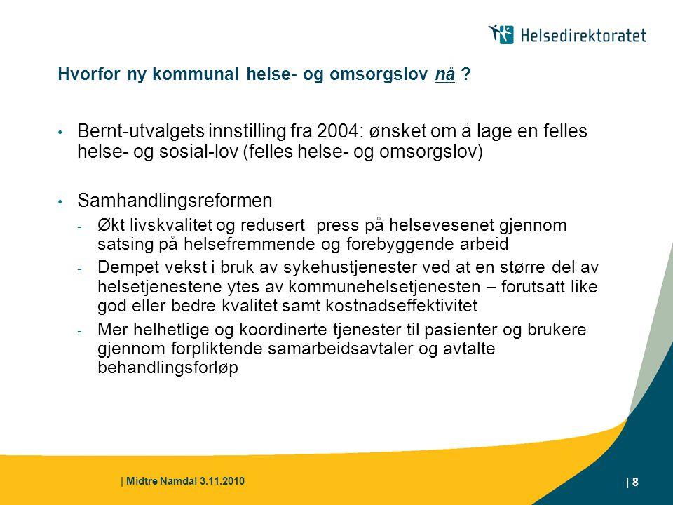 | Midtre Namdal 3.11.2010 | 8 Hvorfor ny kommunal helse- og omsorgslov nå ? Bernt-utvalgets innstilling fra 2004: ønsket om å lage en felles helse- og