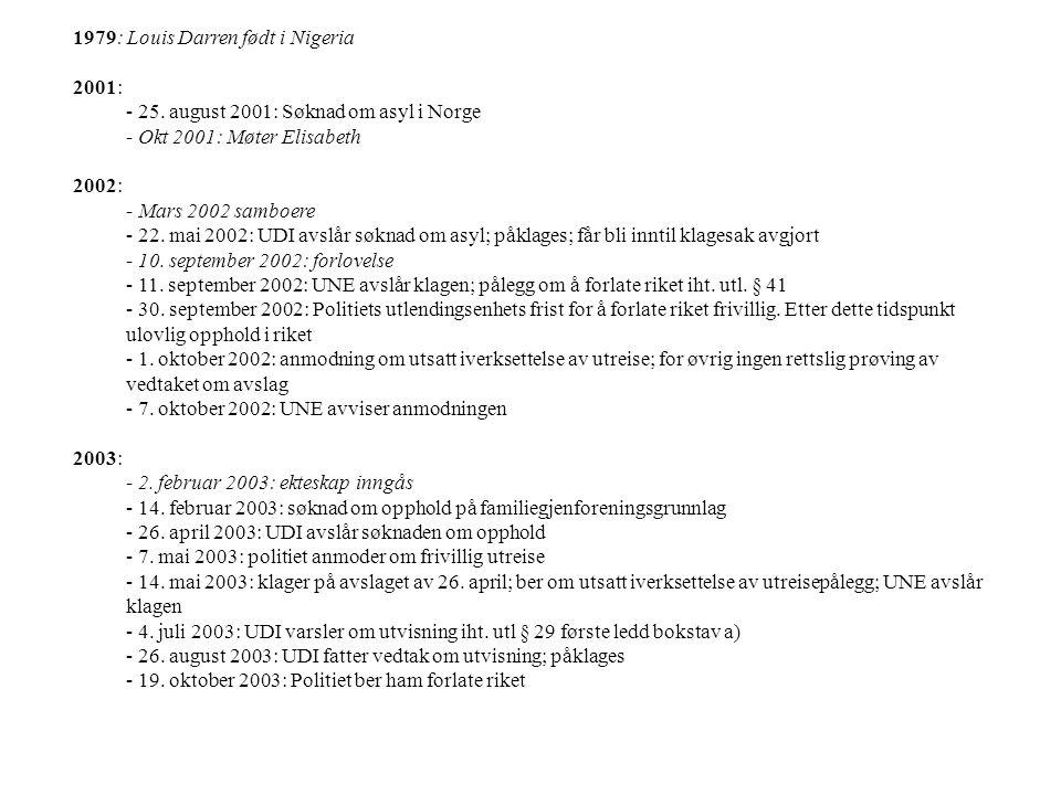 1979: Louis Darren født i Nigeria 2001: - 25. august 2001: Søknad om asyl i Norge - Okt 2001: Møter Elisabeth 2002: - Mars 2002 samboere - 22. mai 200