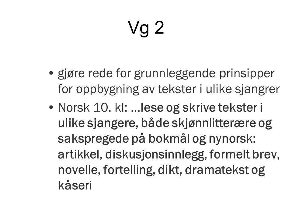 Vg 2 gjøre rede for grunnleggende prinsipper for oppbygning av tekster i ulike sjangrer Norsk 10.