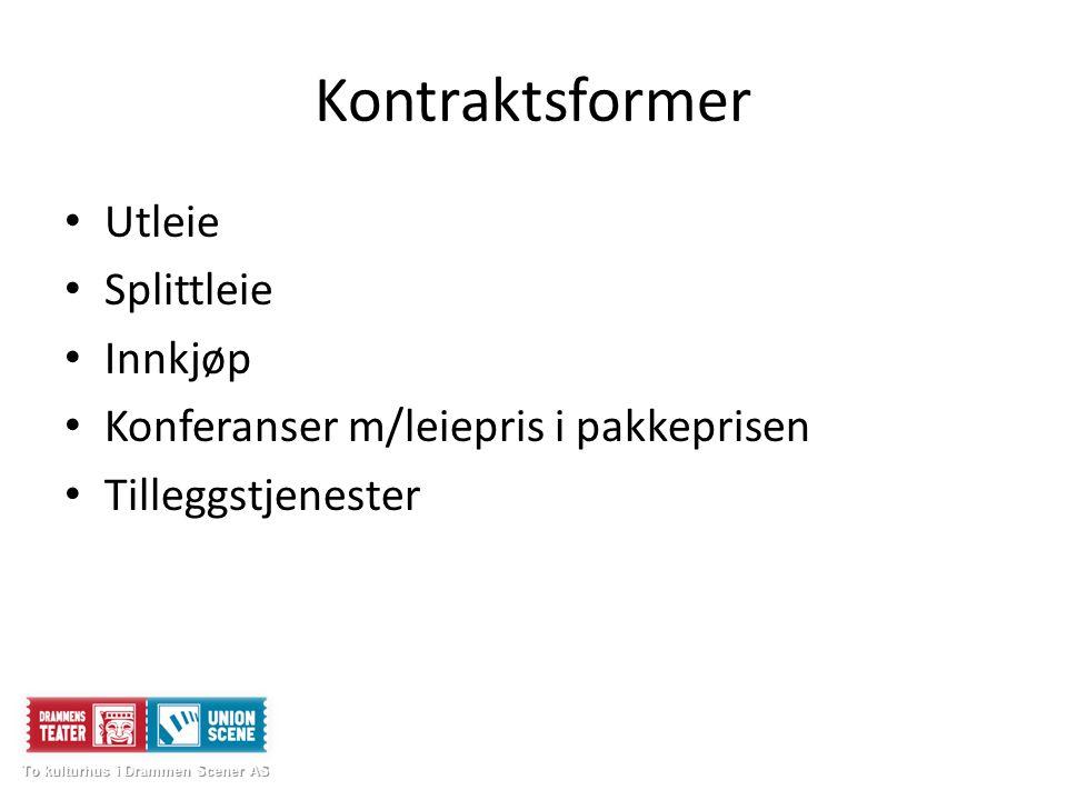 Kontraktsformer Utleie Splittleie Innkjøp Konferanser m/leiepris i pakkeprisen Tilleggstjenester To kulturhus i Drammen Scener AS To kulturhus i Drammen Scener AS